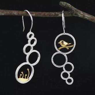 Bean Sprout & Bird Dangling Earring 3