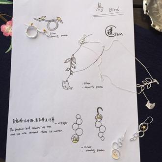 Bean Sprout & Bird Dangling Earring 5