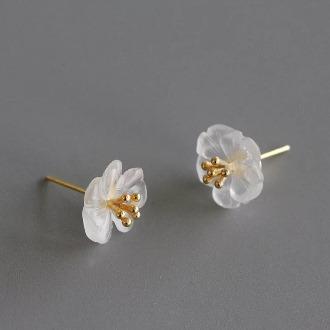 Crystal Skeleton Floewer Gold Earring 1