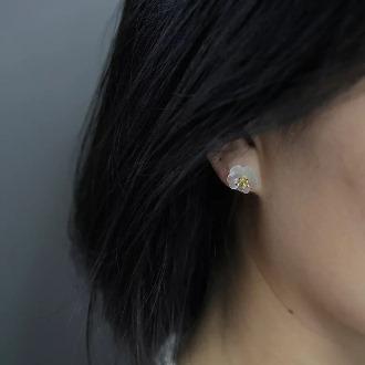 Crystal Skeleton Floewer Gold Earring 2