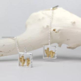 Gold Cactus Dangling Earring 1