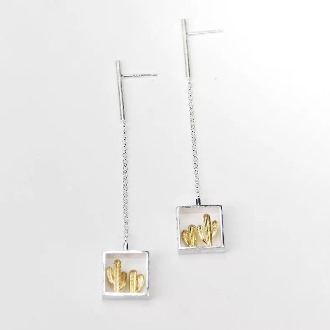 Gold Cactus Dangling Earring 2