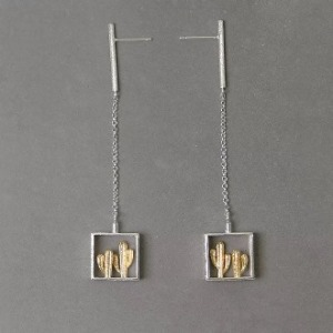 Gold Cactus Dangling Earring 3