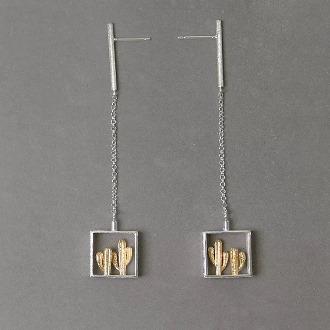 Gold Cactus Dangling Earring 3